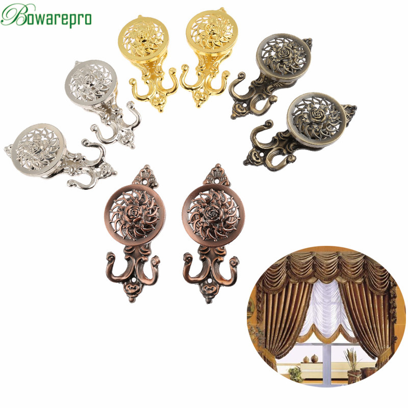 bowarepro Vintage European Rose Pattern Tieback Curtain Hook Door Wall Hat Hooks Holder Hanger Home Decor Window Curtain 2PCS cat pattern waterproof shower curtain