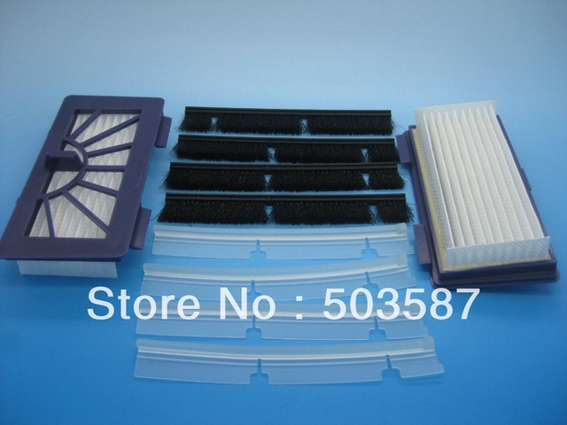 Free shipping! New Silicone blades and brushes and HEPA Dust filters for Neato  XV-21 Automatic vacuum cleaner Robotics.