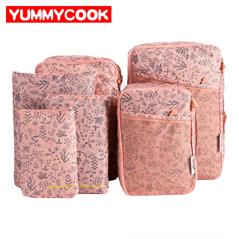 6Pcs/Set Travel Set Bags Cosmetic Makeup Pouch Shoes Clothes Toiletry Organizer Underwear Bra Organizer Accessories