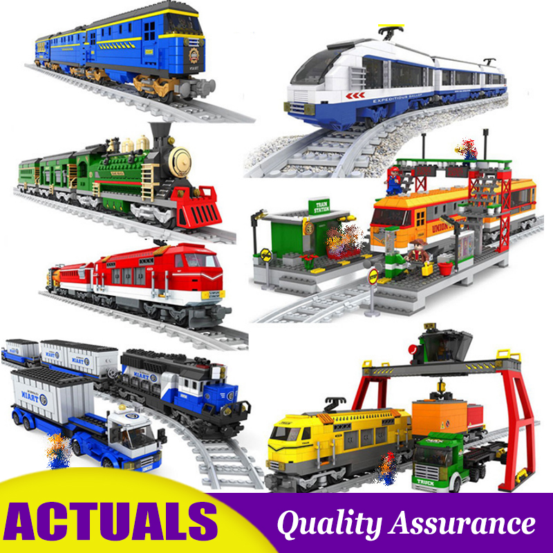 AUSINI Building Block Train Railway Train Station Transportation Model Brick Creative Educational Toys for Kids