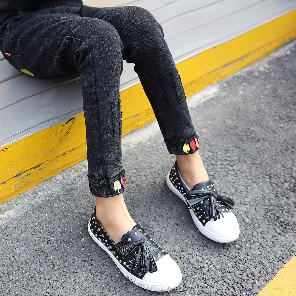 ФОТО Ripped Jeans For Girls 4 5 6 7 8 9 10 11 12 Years Black Pants Children Denim Trousers Baby Skinny Trousers Spring Slim Pants