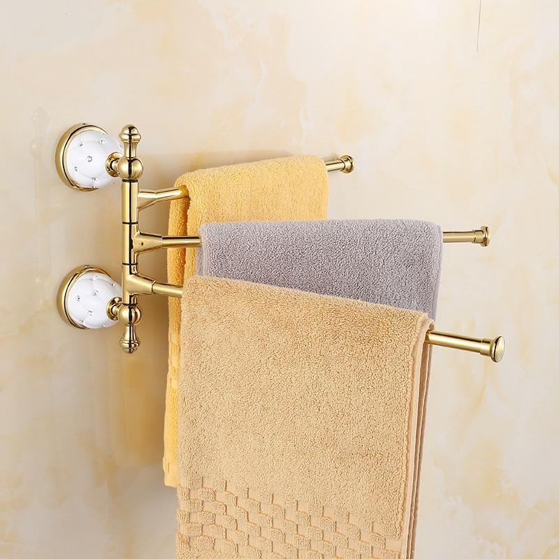 ФОТО European Golden Diamond Jade Towel Bar Activities Rotating Three Rod 4 Or 3 Crystal Decoration Wall Mount Towel Rack