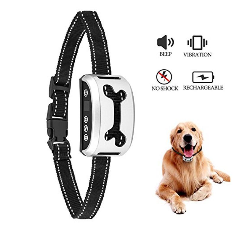 Pet Dog Waterproof Rechargeable Anti Bark Collar Adjustable Sound Vibration Electric Shock Stop Barking Dog Training Collars