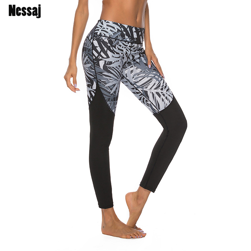 Nessaj 3D Print Leggings Sexy Fitness Patchwork Skinny Workout High Waist Jeggings Push Up Hip Pants Booty Compression Leggings