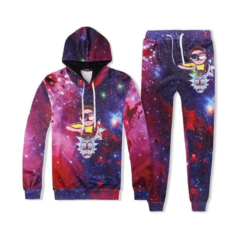 Drop Rick And Morty Tracksuit Men Women Sportwear 3D Men Sets 2PCS Hooded Sweatshirts Pullovers+Jogger Pants Moleton Masculino