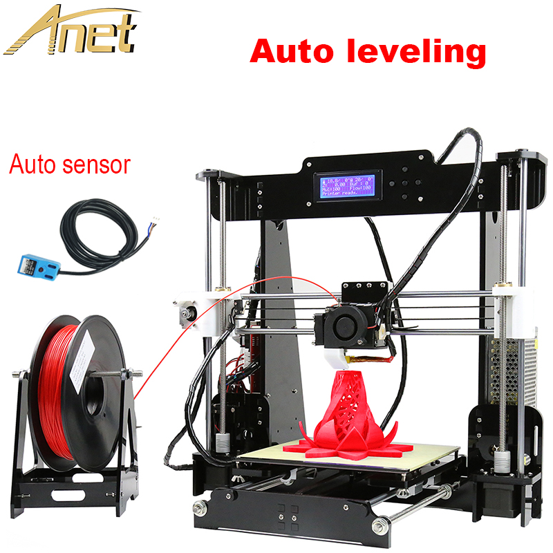 Anet Auto Leveling Optional High Precision Reprap Prusa 3d printer DIY Kit With Free1Roll Filaments Aluminum Hotbed LCD Gift