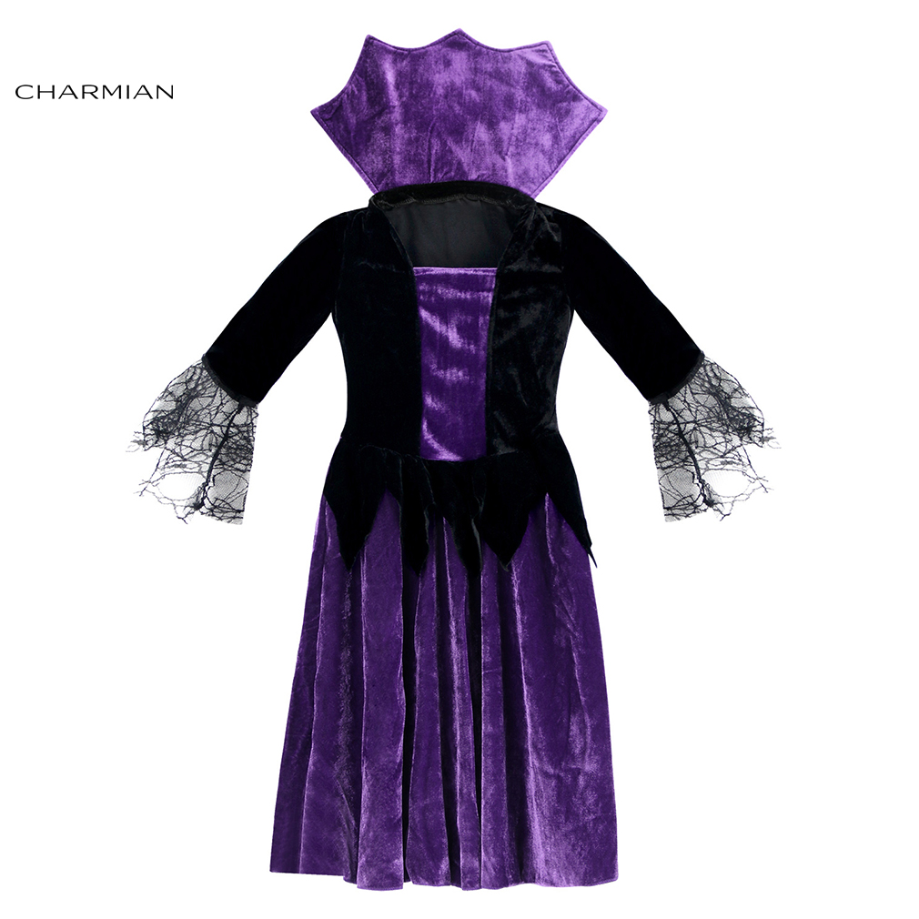 Charmian Girl Witch Halloween Costumes Children Spider Cosplay Fancy Dress Masquerade Party Robe Halloween Costume Clothing