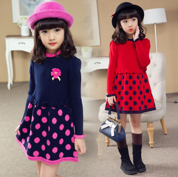 Girl Winter Dress Princess Dresses dot Long Sleeves Autumn Kids Girls Clothes Children Clothing Girl Dress ladybird appliques dress wholesale clothing for girls princess baby boutique o neck clothes children polka dot dresses 6pcs lot