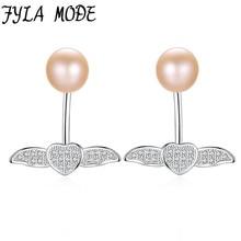 Fashion Purple White Pink 7-7.5mm Pearl Stud Earring Angel Wings Design Cz Zircon Earring For Women 925 Silver Ear Jewelry