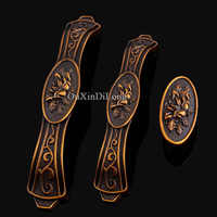 Retro Vintage 10PCS European Antique Carved Kitchen Door Furniture Handles Cupboard Drawer Wardrobe Cabinet Pull Handles & Knobs