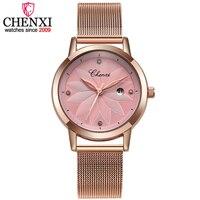 CHENXI Senhoras Marca de Luxo relógios de Pulso Das Mulheres Relógios de Quartzo Calendário Relógio de Ouro Rosa Relógios de Pulso Relogio feminino