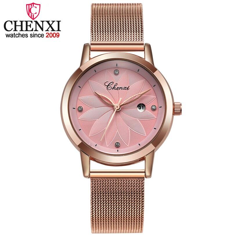 CHENXI de cuarzo relojes marca relojes de lujo calendario reloj oro rosa Relogio Feminino