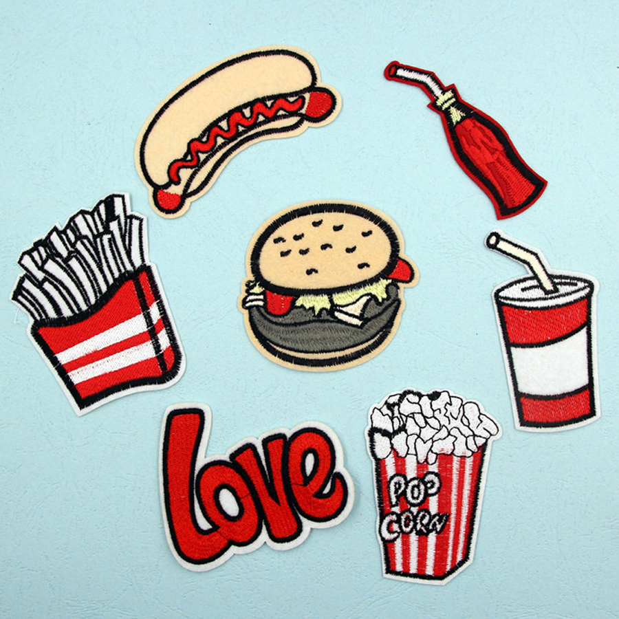 Hamburger Embroidered sew Iron on patches badge Fabric Bag clothes Applique DIY