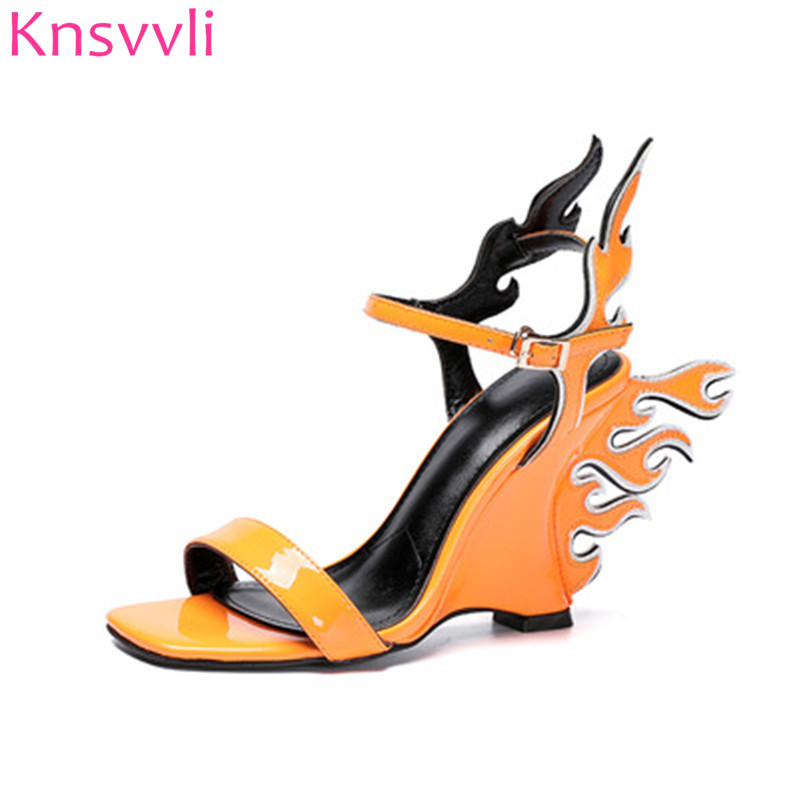 2019 Newest Orange Flame Wings Wedge High heels Sandals Women Peep Toe Patent leather Runway Party