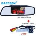 """Shock-proof tela de vidro 4.3 """"sunvisor monitor do carro com 8 led car estacionamento camera para Volkswagen PASSAT B5/Jetta/Touran/Caddy"""
