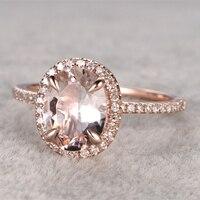 7x9mm Morganite Engagement Ring Yellow Gold Topaz Wedding Band 14k Oval Cut Gemstone Promise Bridal Ring