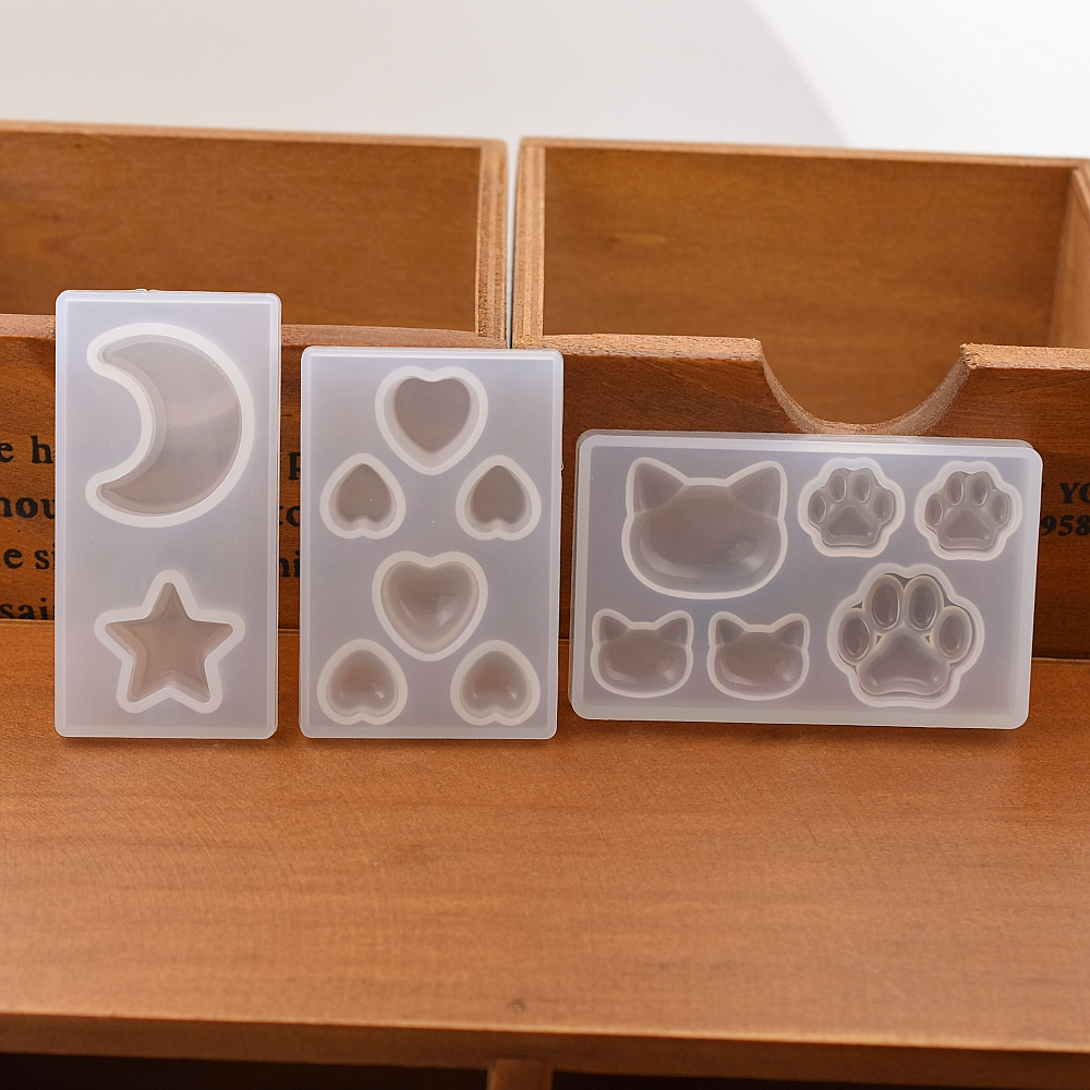 Silicone Mold cat bear paw heart moon star Resin Silicone Mould handmade DIY Resin Jewelry Making epoxy resin molds acrylic diy resin chapte diy handmade resin soap stamp chapter mini diy patterns z0125sz