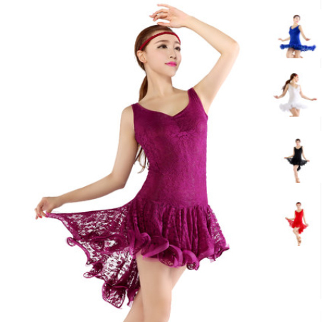 Elegante sexy Encaje cóctel azul púrpura blanco negro rojo mujeres salsa  competencia Vestidos ropa Latino 208a1dd7c3c