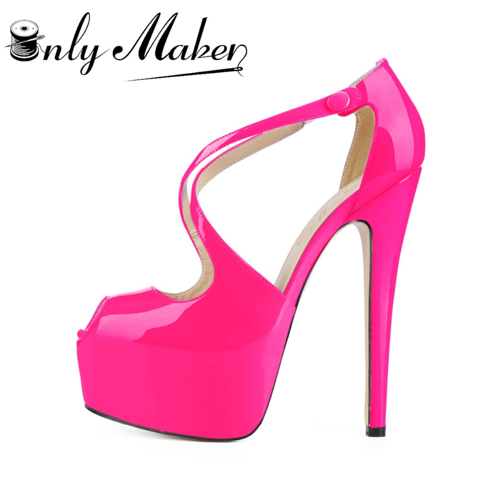 Onlymaker Women's Cross Strap Shoes Pumps 18cm High Heel Sexy Peep Toe Sandals wedding Stilettos Spike Shoes Plus size 15 onlymaker prom dress shoes t strap peep toe sandals pumps shoes color block heels thin 12cm high sandals sexy heeled stiletto