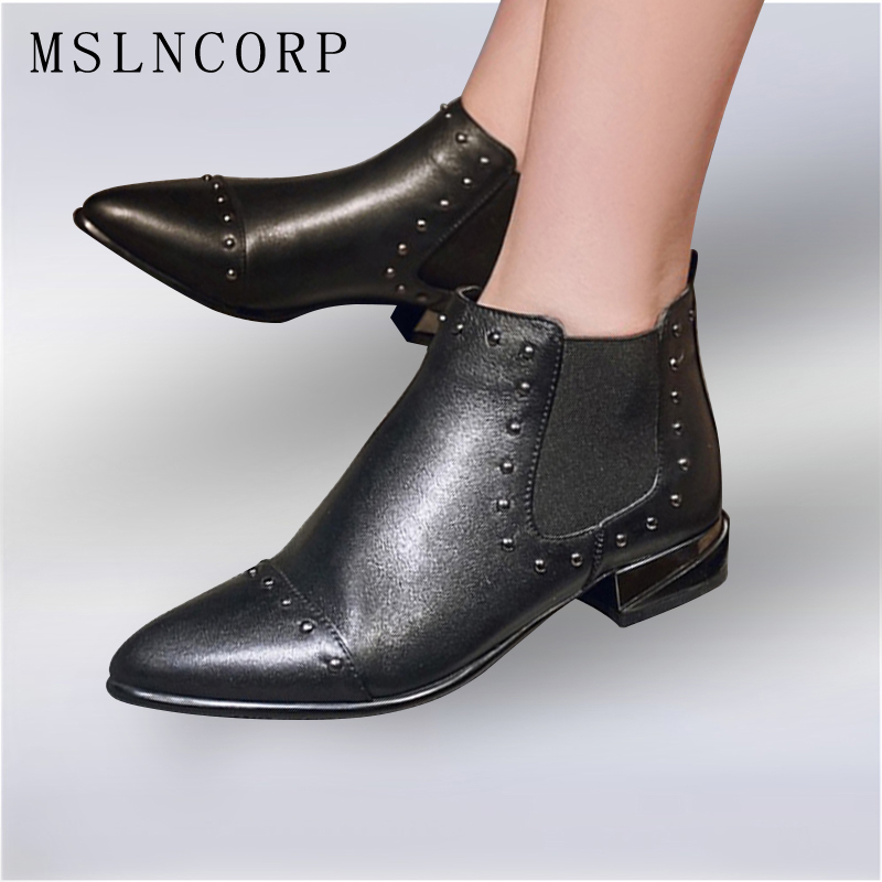plus size 34-43 Spring Autumn Fashion Martin Boots Women Casual Genuine Leather Boots Pointed Toe rivets Woman black Ankle Boots women spring autumn thick mid heel genuine leather round toe 2015 new arrival fashion martin ankle boots size 34 40 sxq0902