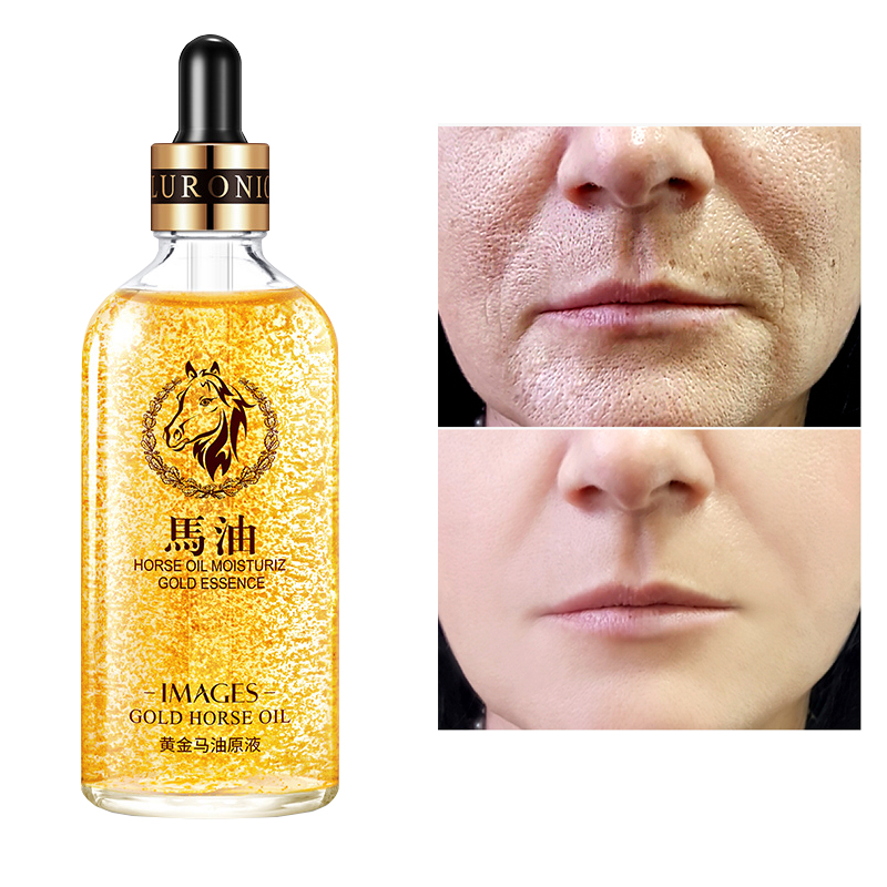 24k Gold Horse Serum Oil Korea Face 100ML Anti-Wrinkle Skin Care Shrink Pore Essence Anti Aging Vitaminis Moisturizer Collagen P