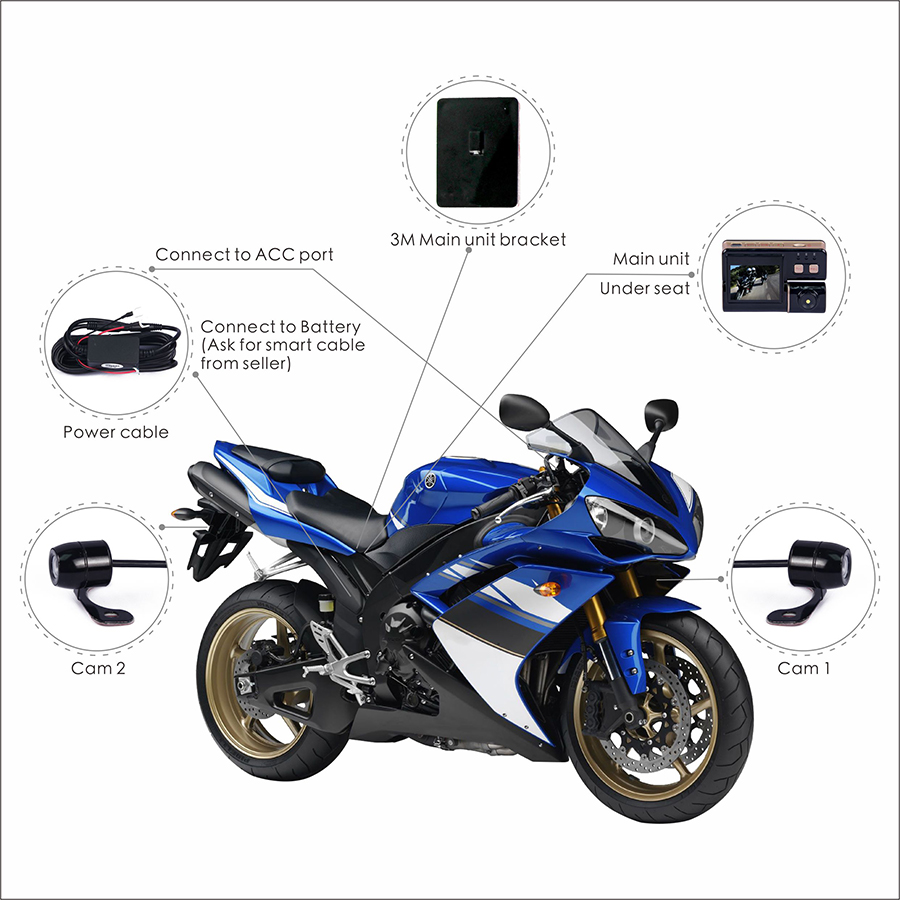 Vsys C3 Dual Motorcycle Camera Video Recorder Camcorder two HD Front and Rear View Cameras for Motorcycle DVR