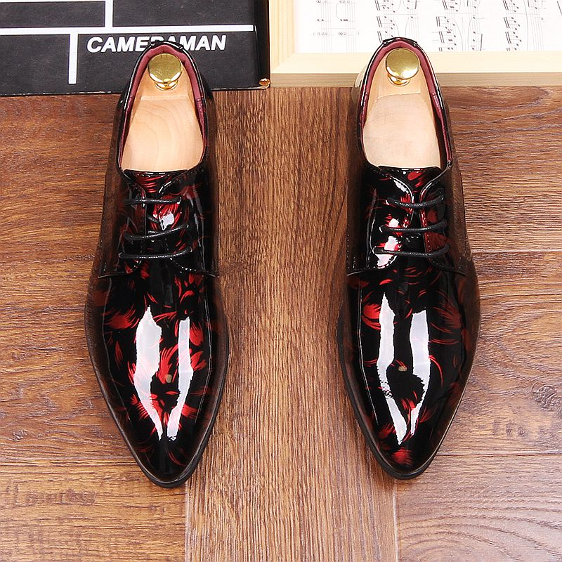 Men's Shoes Autumn Mens Dress Pointed Toe Flowers Patent Leather Wedding Party Oxfords Shoes Lace Up Red Blue Green Male Fashion Oxfords Shoes