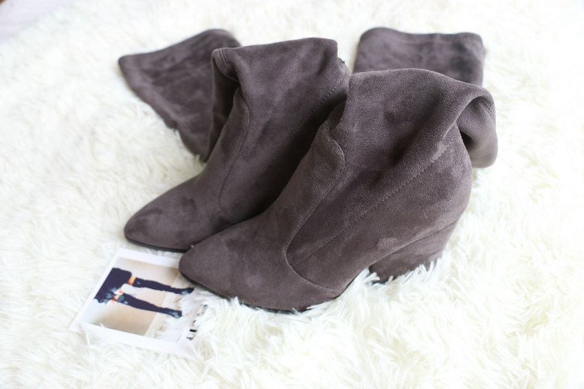 Women Hoof Heels Winter Shoes Pointed Toe Sexy Elastic Fabric Boots 44