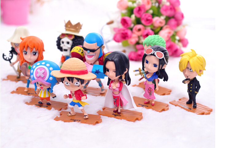 10PCS/LOT One Piece Doll Action Figure Sets Mugiwara Pirates Hancock 10pcs/Set PVC 8-12 CM