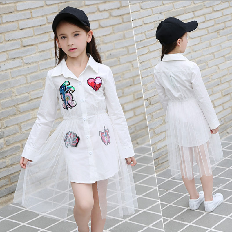 New 2018 Cotton Kids Girls <font><b>Dresses</b></font> Net Yarn Applique Children Clothing Teens girl <font><b>Party</b></font> <font><b>dress</b></font> 6 8 10 11 12 <font><b>13</b></font> 14 15 16 <font><b>Years</b></font> <font><b>old</b></font> image
