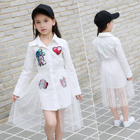 New 2018 Cotton Kids Girls Dresses Net Yarn Applique Children Clothing Teens girl Party dress 6 8 10 11 12 13 14 15 16 Years old