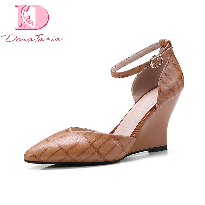DoraTasia Plus Size 36-43 Cow Genuine Leather Woman Shoes Pointed Toe Wedges High Heel Women Shoes Summer Pumps doratasia plus size 36 43 cow genuine leather woman shoes pointed toe wedges high heel women shoes summer pumps