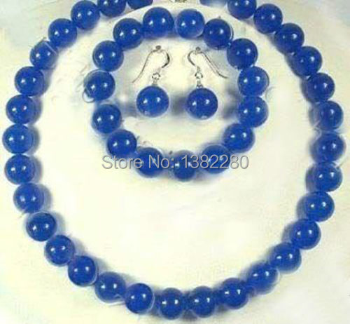 "10mm Blue chalcedony round stone beads women fashion jewelry making design Necklace 18"" bracelet 8.5""  Earring set"