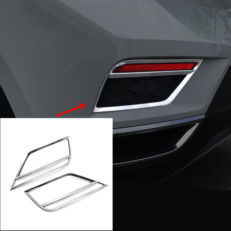 FOR Volkswagen for VW T-Roc 2017-2018 Exterior Accessories Trim ABS Chrome Car Back Rear Tail Fog Light Lamp Cover Trim 2pcs fit for vw volkswagen tiguan 2010 2011 2012 abs chrome front rear headlight tail light lamp cover trim car accessories
