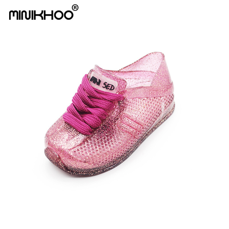 Mini Melissa Shoelaces Sports Sandals Casual Girls Jelly Children Shoes Brazilian Jelly Sandals For Girls Breathable 14cm-16.5cm