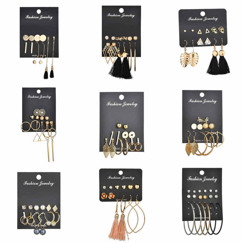 Modyle Gold Color Long Tassel Earrings Set Fashion Round Irregular Stud Earrings For Women Jewelry Gift