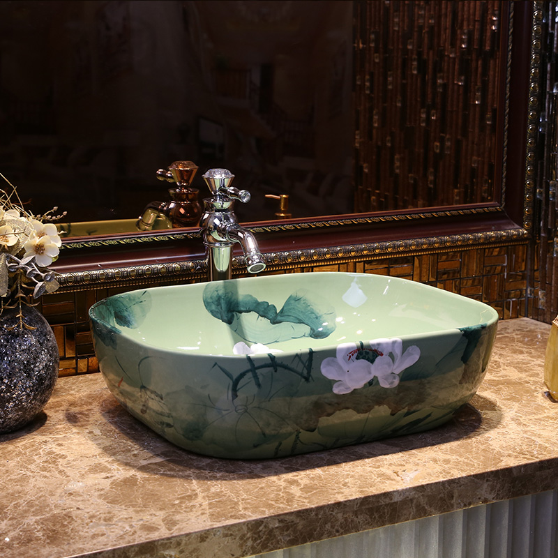 € 276.43  Rectangulaire salle de bain bassin comptoir en céramique Lavabo  évier Lavabo porcelaine lavabos antique lavabos-in Lavabos from Bricolage  on ...