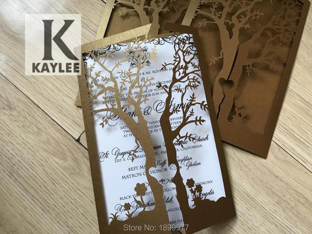 50pcs Elegant Delicate Carve Tree Wedding Invitation Cards,sweet 16 Birthday Party Invitation Cards,Laser cut invitaiton cards