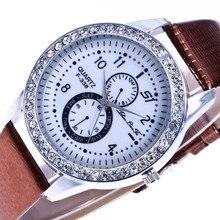 Мода поддельные два глаза цифровые весы Silver Diamond Сплава циферблат Коричневая кожа 20 мм ремешок Для мужчин пары Роскошные Кварцевые часы часы C37