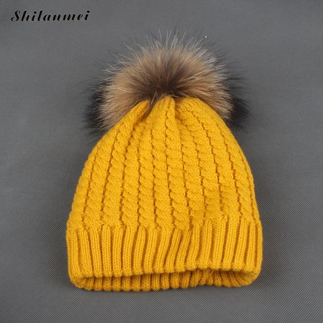 2018 Winter Fur Hat for Women Ladies Knit Beanie Winter Hat Fur Pom Pom  Knitted Hats Raccoon Fur Female Hat Pink Yellow 64c4fe44ce4