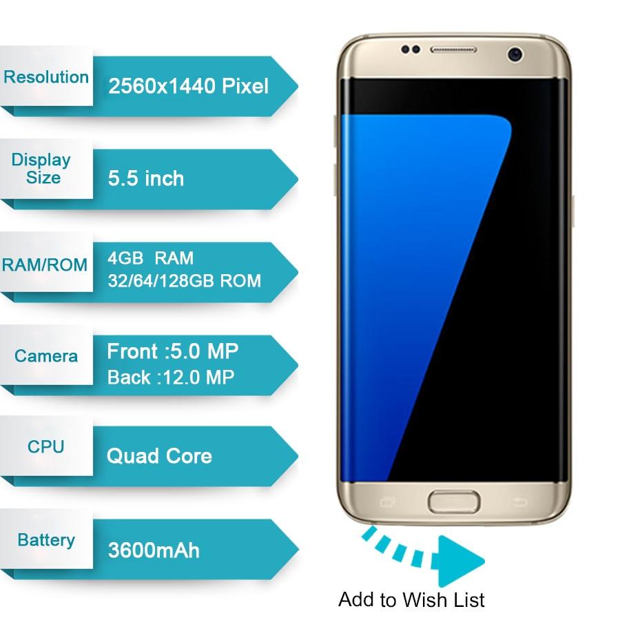 Original Samsung Galaxy S7 Edge 4GB RAM 32GB ROM 5.5 inch LTE Mobile Phone 12.0 MP Android Quad Core Unlocked Cell phone - 2