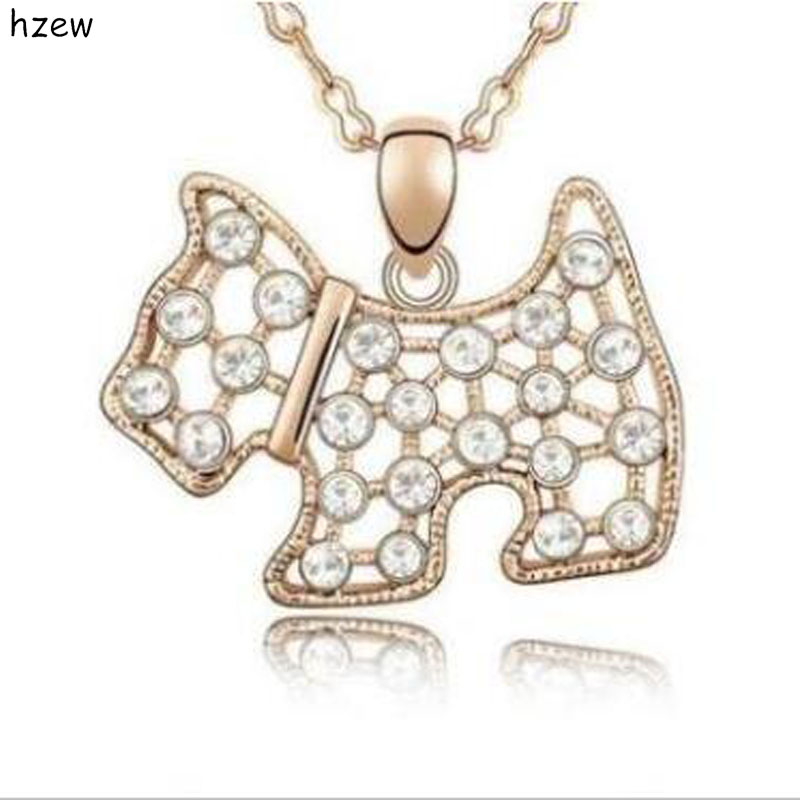 Hzew Dog Statement Necklace Austria Crystal Westie For Scottish Scottie Dog Puppy Pendant  Necklace Christmas