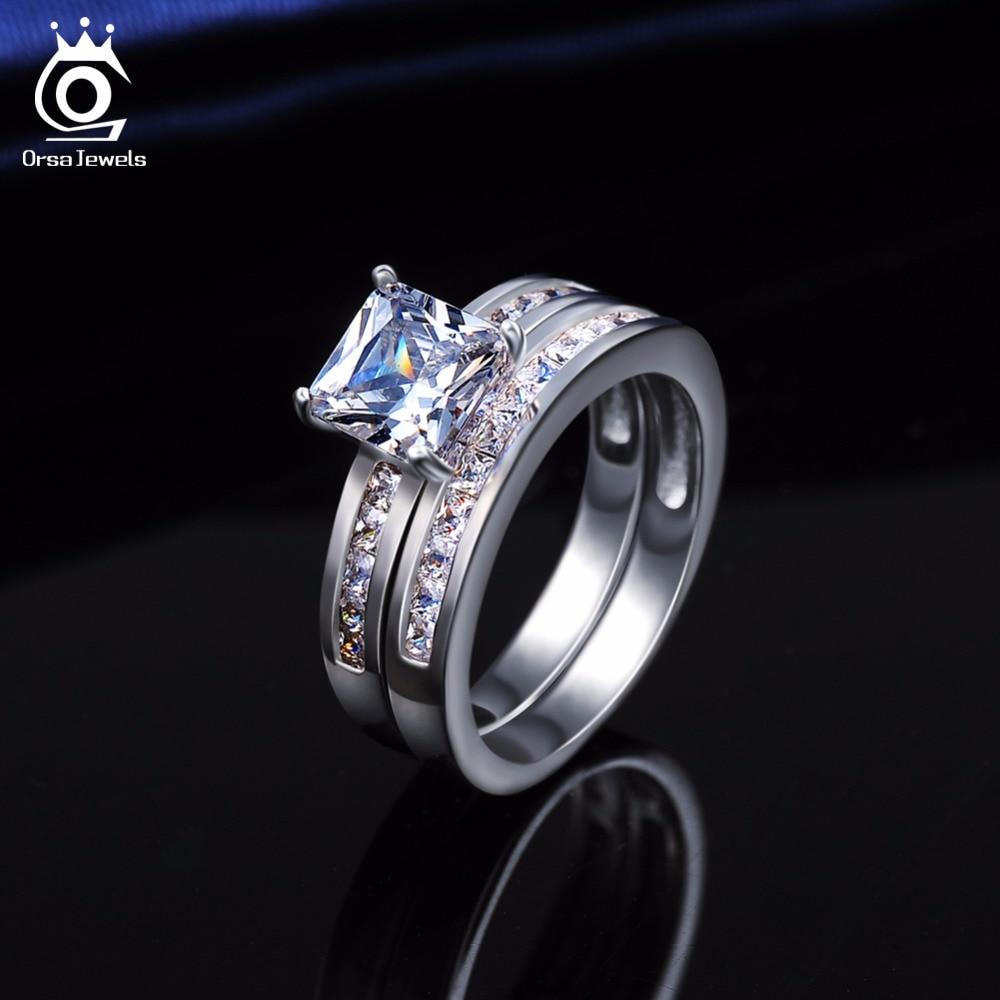 ORSA JEWELS Luxury 1ct Square Crystal Bridal Sets Bröllop & - Märkessmycken - Foto 5