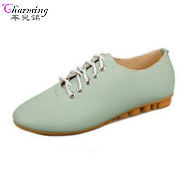 2016 fashion shoes women candy color lace-up women flats soft strong cow muscle sole flat women casual shoes white ALF181 siketu best gift baby flats tassel soft sole cow leather shoes infant boy girl flats toddler moccasin bea6624
