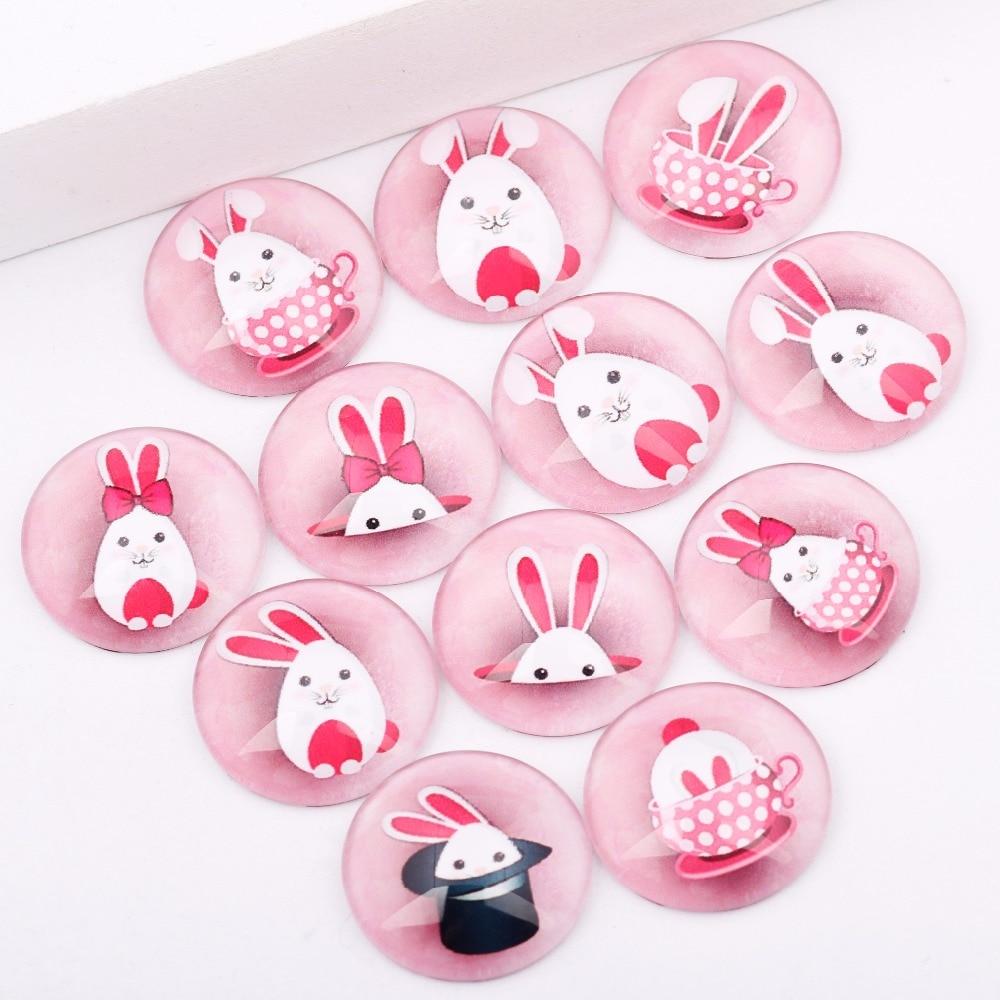 Reidgaller 20pcs Mixed Pink Bunny Rabbit Photo Round Glass Cabochon 20mm Diy Flatback Handmade Jewelry Findings