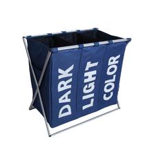 Laundry Storage Organization Basket Foldable Laundry Hamper Bathroom Laundry Bag Product Triple Compartment