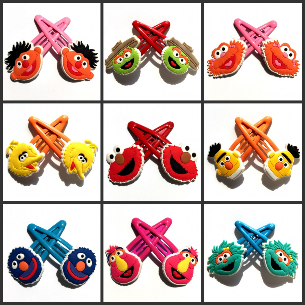 2pcs Sesame Street Baby Clip Hairpins Lovely Girls Barrettes Kids Headwear Multicolor Hair Clip Hair Band Travel Accessories