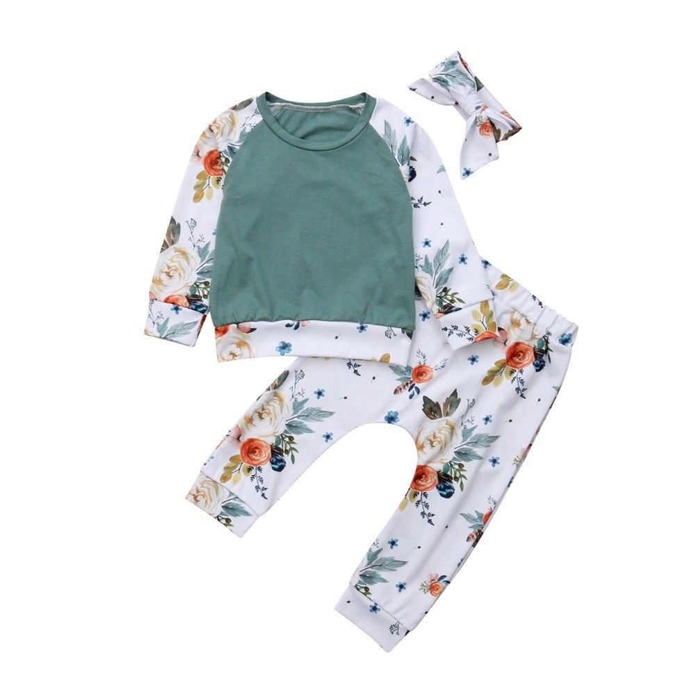 2018 Brand New Infant Toddler Newborn Baby Girls Floral Outfit Clothes Long Sleeve Tracksuit Tops Leggings Pants Headband Set