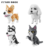Finger Rock Cute Animals Building Blocks Cat Dog Model Building Bricks Constructor Blocks For Children Compatible