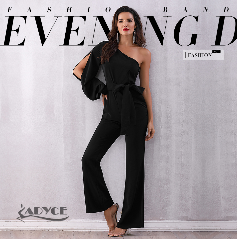 6ed0d0bf8ca ADYCE 2018 Summer Women Celebrity Runway Jumpsuits One Shoulder Black Long  Sleeve Romper Jumpsuit Sashes Sexy Bodycon Bodysuits
